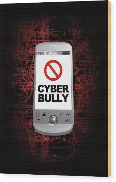 Cyber Bullying Wood Print by Victor Habbick Visions/science Photo Library