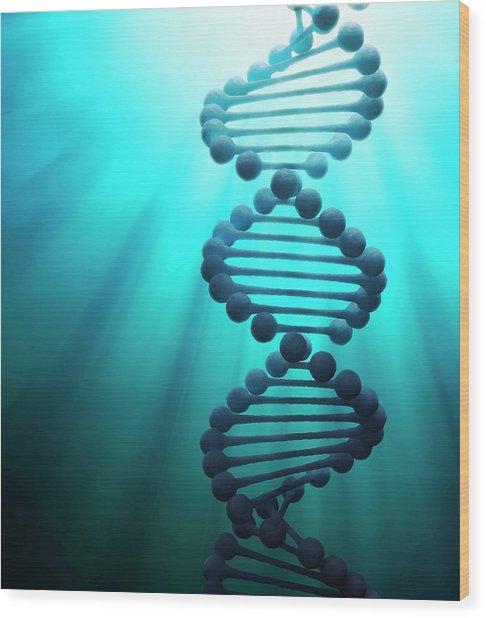 Dna Molecule, Artwork Wood Print by Andrzej Wojcicki