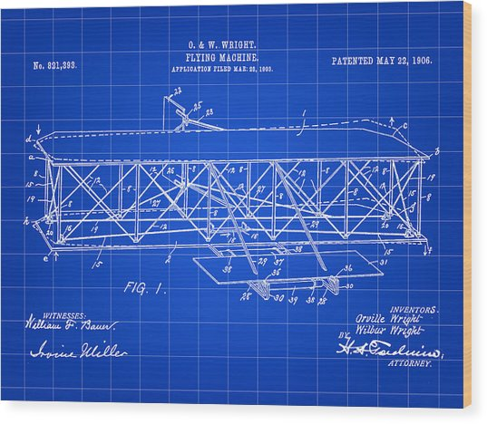 Flying Machine Patent 1903 - Blue Wood Print