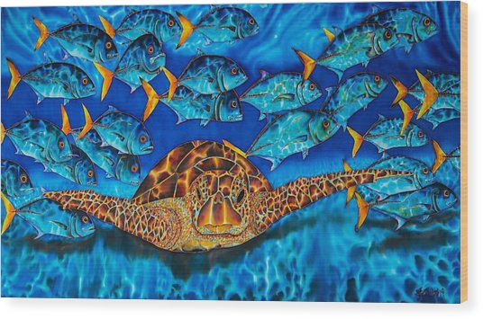 Sea Turtle And Jacks Wood Print