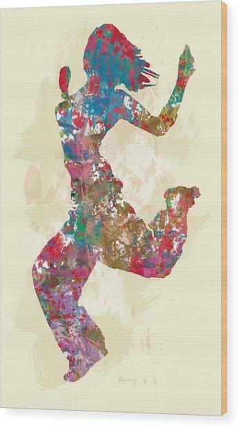 Hip Hop Street Dancing  Pop Stylised Art Poster Wood Print