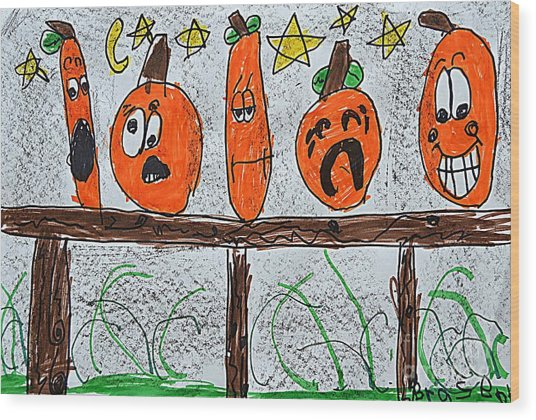 5 Little Pumpkins Wood Print