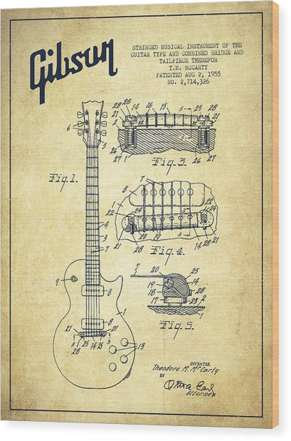 Mccarty Gibson Les Paul Guitar Patent Drawing From 1955 - Vintage Wood Print