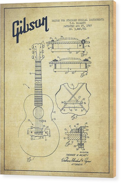 Mccarty Gibson Stringed Instrument Patent Drawing From 1969 - Vintage Wood Print