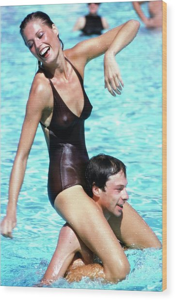 Model Wearing A Catalina Swimsuit Wood Print by Arthur Elgort