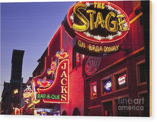 Wood Print featuring the photograph Music City Usa by Brian Jannsen