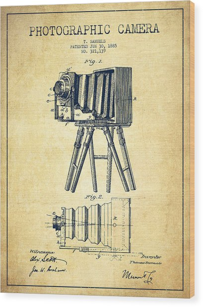 Photographic Camera Patent Drawing From 1885 Wood Print