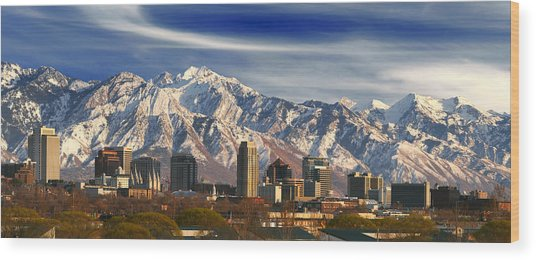 Salt Lake City Skyline Wood Print