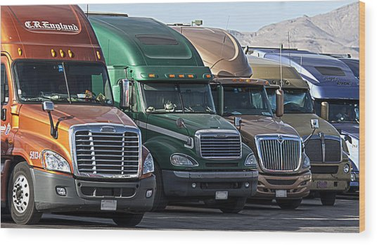 Semi Truck Fleet Wood Print