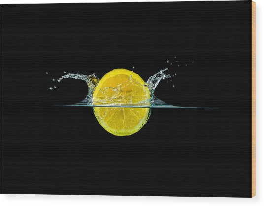 Splashing Lemon Wood Print