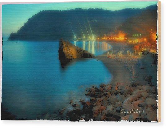 5 Terre Monterosso Beach In Passeggiate A Levante Wood Print