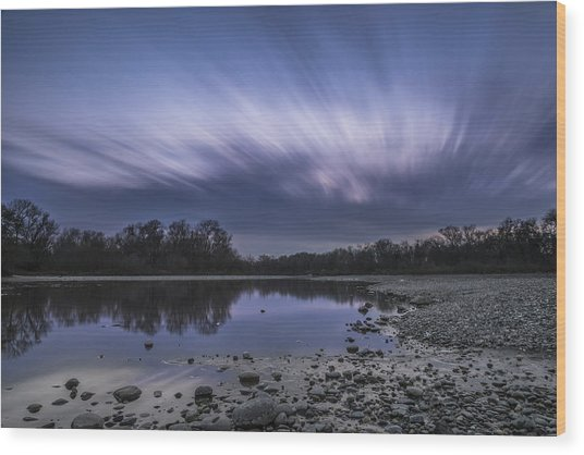 The American River Wood Print