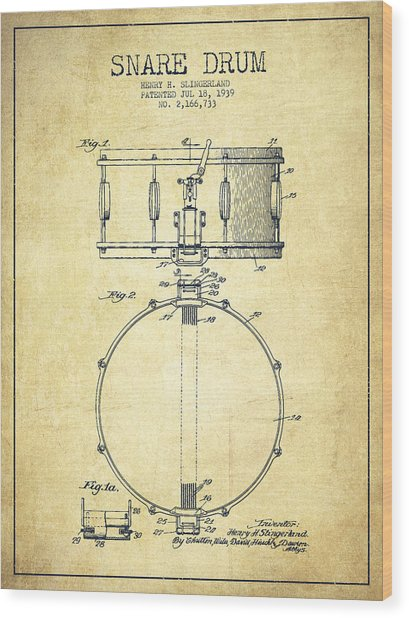 Snare Drum Patent Drawing From 1939 - Vintage Wood Print