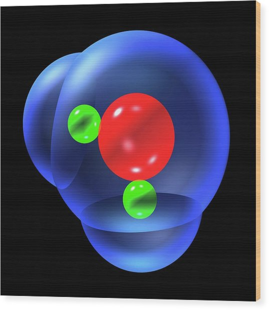Water Molecule Wood Print by Russell Kightley