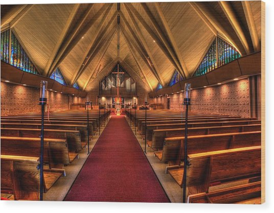 Woodlake Lutheran Church Wood Print