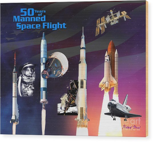 50 Years Of Manned Space Flight Wood Print