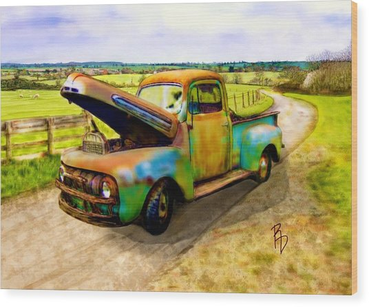 52 Ford F3 Pick-up Truck Wood Print