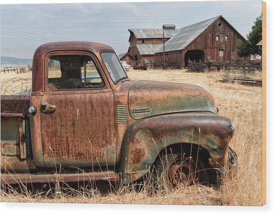 '54 Chevy Put Out To Pasture Wood Print