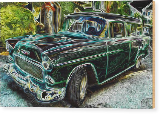55 Chevy Color Wagan Wood Print