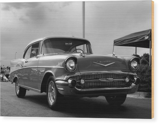 57 Chevy Bel-aire In Bw Wood Print by Don Durante Jr