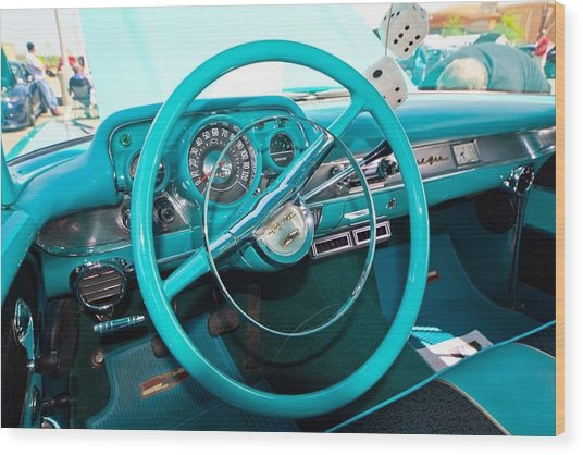 57 Chevy Belair Turquoise Wood Print