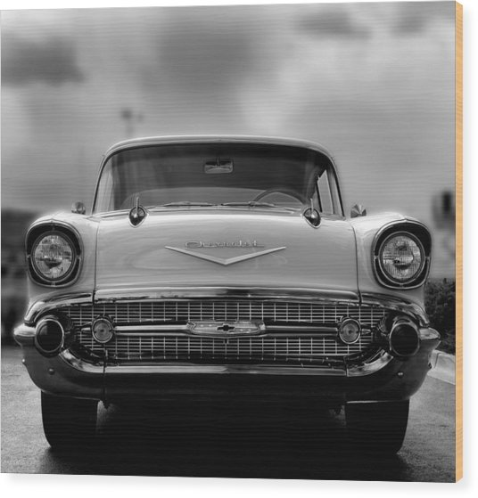 57 Chevy Full Frontal In Bw Wood Print by Don Durante Jr