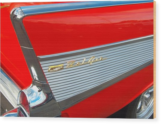 57 Chevy Tail Fin Wood Print by Don Durante Jr