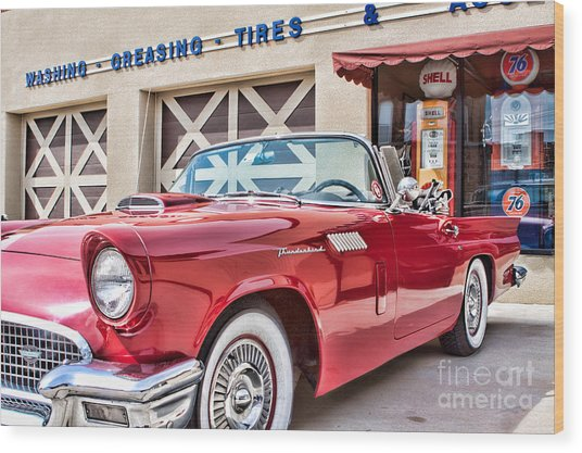 57 T-bird Wood Print by Lawrence Burry