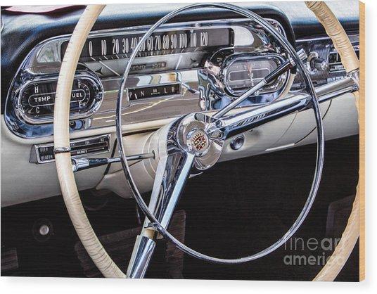 58 Cadillac Dashboard Wood Print