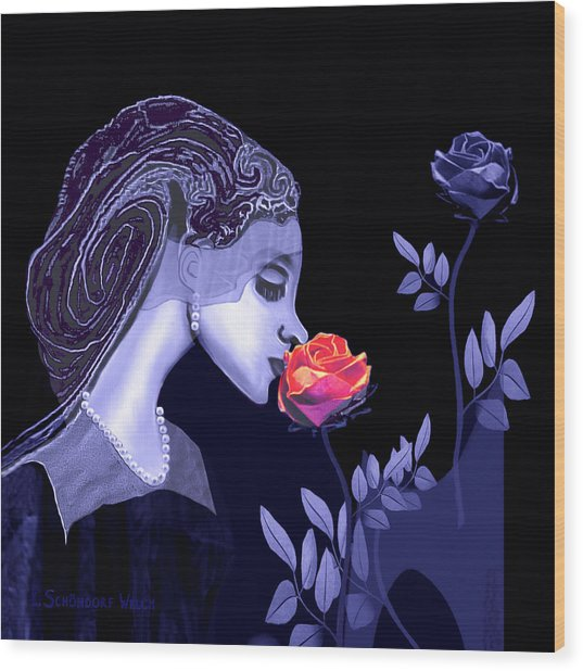 590 Flavour Of The Rose Wood Print by Irmgard Schoendorf Welch