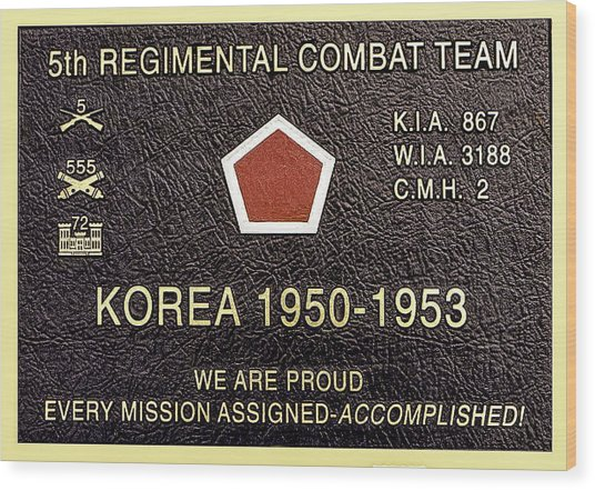 5th Regimental Combat Team Arlington Cemetary Memorial Wood Print