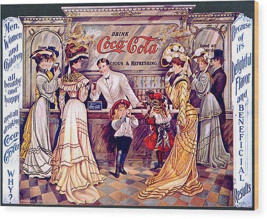 Coca - Cola Vintage Poster Wood Print