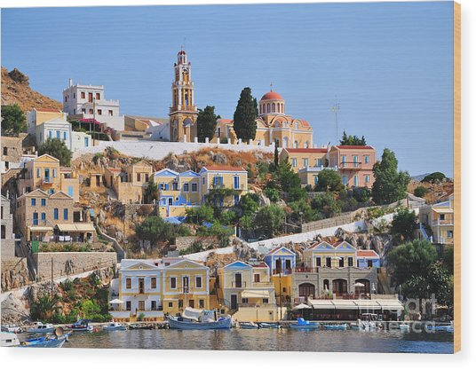 Colorful Symi Wood Print