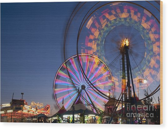Evergreen State Fair With Ferris Wheel Wood Print
