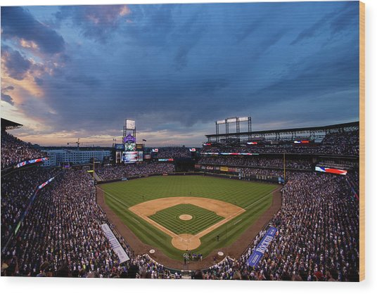 Los Angeles Dodgers V Colorado Rockies Wood Print by Justin Edmonds