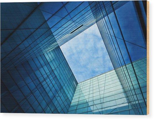 Modern Glass Architecture Wood Print by Nikada