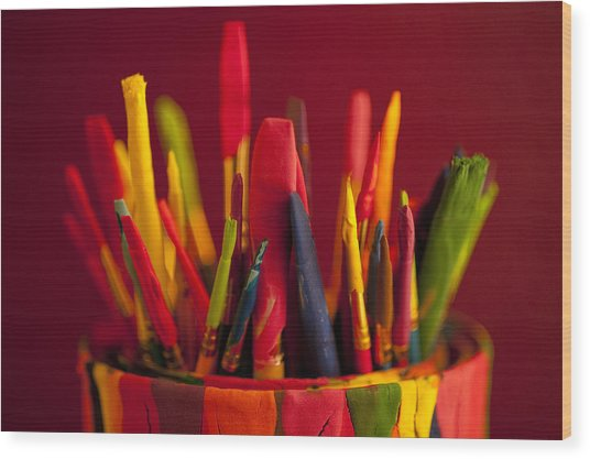 Multi Colored Paint Brushes Wood Print