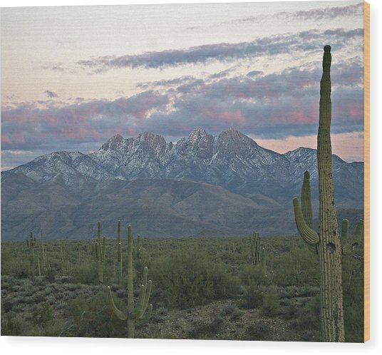 Four Peaks Sunset Snow Wood Print