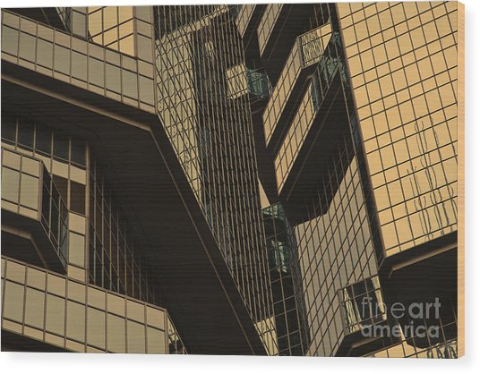 Skyscraper Windows Background In Hong Kong  Wood Print by IB Photography