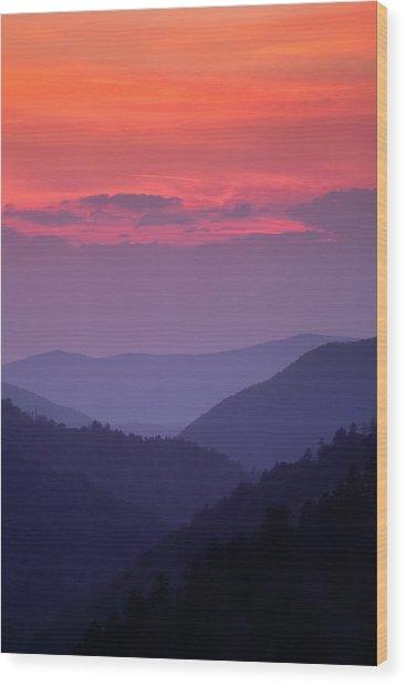 Smoky Mountain Sunset Wood Print