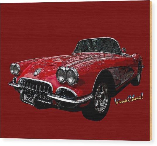 60 Red Corvette Wood Print