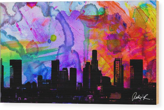 60x34 Panoramic Watercolor Skyline Www.splashyartist.com Wood Print