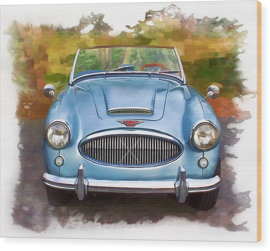 Wood Print featuring the mixed media 62 Austin Healy by Deborah Boyd