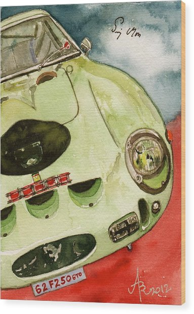 62 Ferrari 250 Gto Signed By Sir Stirling Moss Wood Print