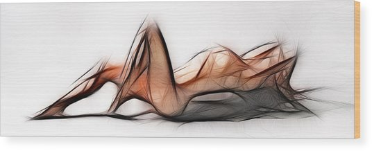 6524 Fractal Nude 1 To 3 Ratio Abstract Signed Chris Maher Wood Print