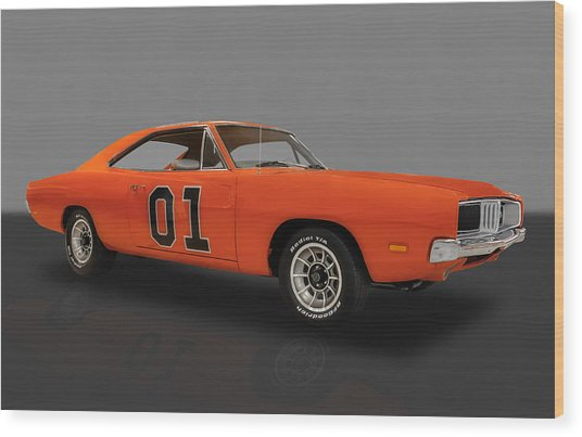 1969 General Lee Dodge Charger Wood Print