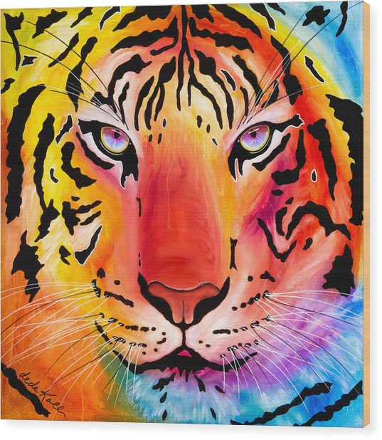 Wood Print featuring the painting Tiger by Dede Koll