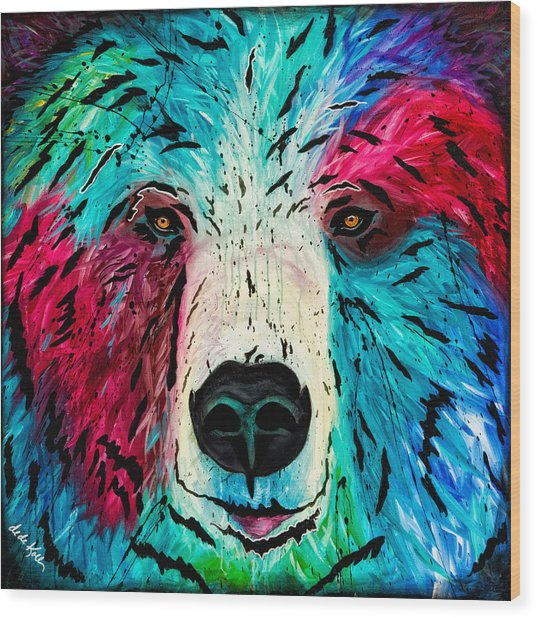 Wood Print featuring the painting Bear by Dede Koll