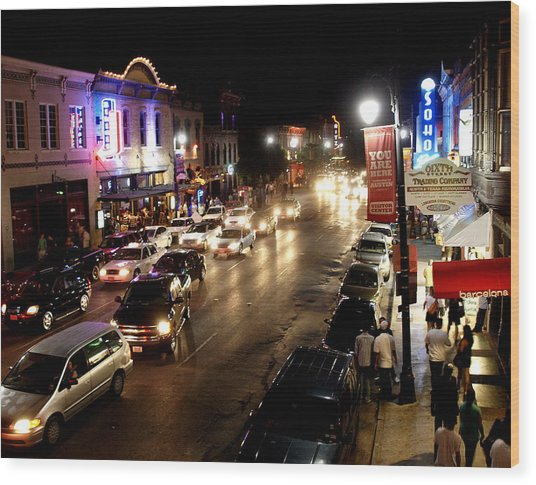 6th Street Austin Texas Wood Print