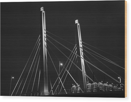 6th Street Bridge Black And White Wood Print